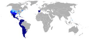 Un mapa del mundo hispanohablante de Wikipedia.